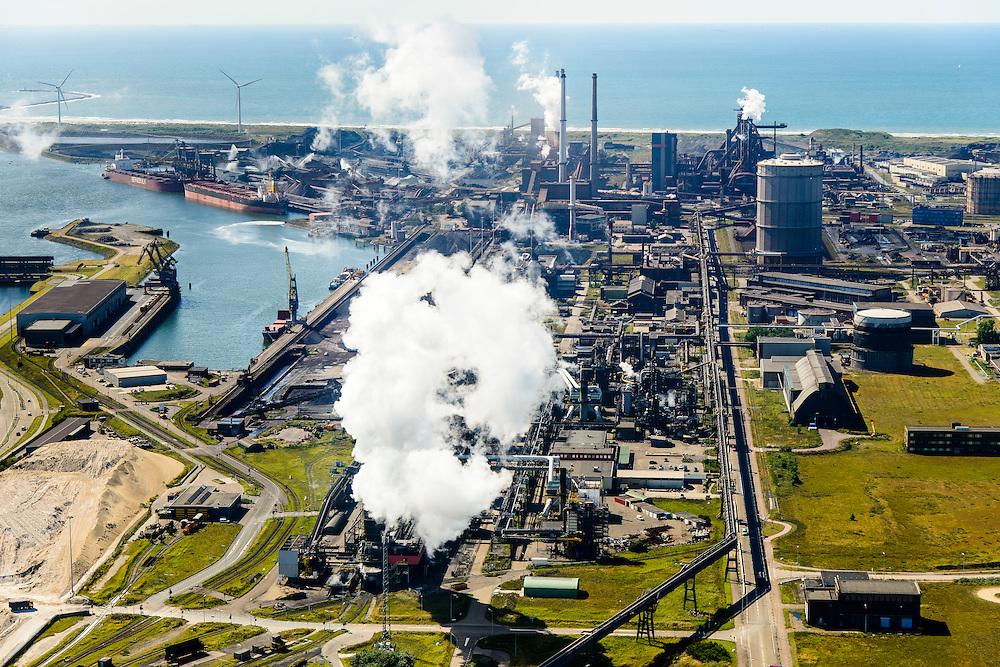 Nederland, Noord-Holland, IJmuiden, 01-08-2016; Velsen-Noord, terrein van Tata Steel met in de voorgrond de cokesfabriek.<br /> Tata Steel industrial site, steel works.<br /> <br /> luchtfoto (toeslag op standard tarieven);<br /> aerial photo (additional fee required);<br /> copyright foto/photo Siebe Swart