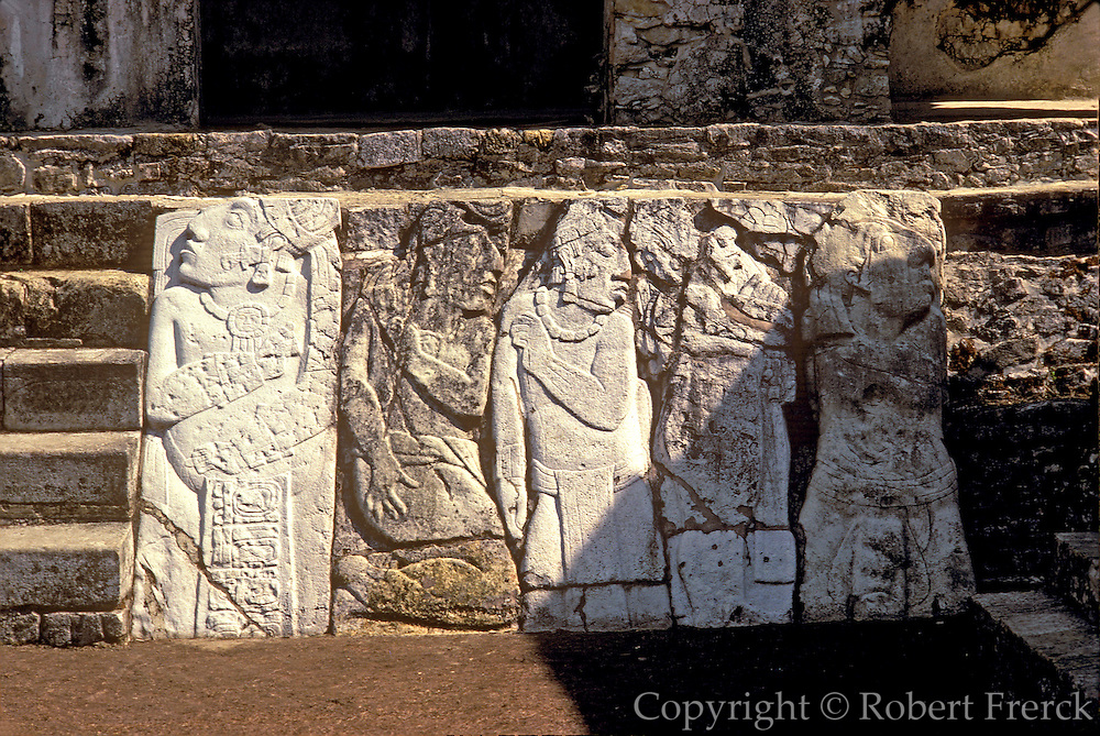 MEXICO, MAYAN, PALENQUE Palace court with frieze of slaves
