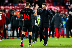 Atletico Madrid manager Diego Simeone celebrates with Marcos Llorente of Atletico Madrid - Mandatory by-line: Robbie Stephenson/JMP - 11/03/2020 - FOOTBALL - Anfield - Liverpool, England - Liverpool v Atletico Madrid - UEFA Champions League Round of 16, 2nd Leg