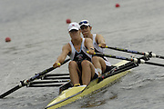 Poznan, POLAND.  2006, FISA, Rowing, World Cup, GBR W2X bow Annie VERNON and Anna  BEBINGTON, moves  away from  the  start, on the Malta  Lake. Regatta Course, Poznan, Thurs. 15.05.2006. © Peter Spurrier   .[Mandatory Credit Peter Spurrier/ Intersport Images] Rowing Course:Malta Rowing Course, Poznan, POLAND