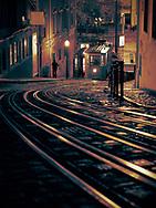 Tram in Lisbon at night