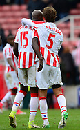 Marc Munisea and Bruno Martins Indi of Stoke city at end of game. Premier league match, Stoke City v West Ham Utd at the Bet365 Stadium in Stoke on Trent, Staffs on Saturday 29th April 2017.<br /> pic by Bradley Collyer, Andrew Orchard sports photography.