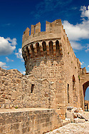 Fortifications of the 14th century medieval palace of the Grand Master of the Kinights of St John, Rhodes, Greece. UNESCO World Heritage Site .<br /> <br /> Visit our GREEK HISTORIC PLACES PHOTO COLLECTIONS for more photos to download or buy as wall art prints https://funkystock.photoshelter.com/gallery-collection/Pictures-Images-of-Greece-Photos-of-Greek-Historic-Landmark-Sites/C0000w6e8OkknEb8
