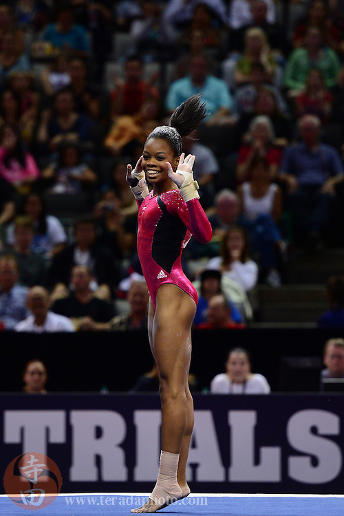 June 29, 2012; San Jose, CA, USA; Gabby Douglas performs on the floor exercise during the 2012 USA Gymnastics Olympic Team Trials at HP Pavilion.
