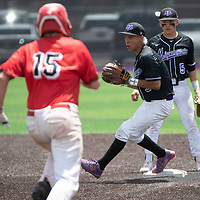 Miyamura Patriot second baseman Seanmatthew Garcia tags second base for a forced out in the NMAA Baseball State Championship semifinal game against Albuquerque Academy Thursday in Gallup.