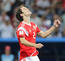 SOCHI, July 7, 2018  Mario Fernandes of Russia reacts after missing a penalty kick during the penalty shootout of the 2018 FIFA World Cup quarter-final match between Russia and Croatia in Sochi, Russia, July 7, 2018. Croatia won 6-5 (4-3 in penalty shootout) and advanced to the semi-finals. (Credit Image: © Yang Lei/Xinhua via ZUMA Wire)