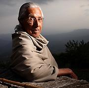 Philosopher Raimon Panikkar photographed at his home in Tavertet. Barcelona.