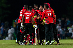 September 22, 2018 - Morrisville, North Carolina, US - Sept. 22, 2018 - Morrisville N.C., USA - Team Canada celebrates as they tie the match at the end of regulation play during the ICC World T20 America's ''A'' Qualifier cricket match between USA and Canada. Both teams played to a 140/8 tie with Canada winning the Super Over for the overall win. In addition to USA and Canada, the ICC World T20 America's ''A'' Qualifier also features Belize and Panama in the six-day tournament that ends Sept. 26. (Credit Image: © Timothy L. Hale/ZUMA Wire)