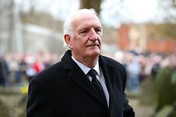 Retired Manchester United goalkeeper Alex Stepney arrives at the funeral service for Gordon Banks at Stoke Minster.