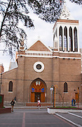 A church on the main street. pedestrians, people walking Neuquen, Patagonia, Argentina, South America
