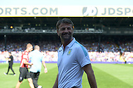 Tim Sherwood, the Aston Villa manager smiling as he arrives at pitch side before k.o. Barclays Premier league match, Crystal Palace v Aston Villa at Selhurst Park in London on Saturday 22nd August 2015.<br /> pic by John Patrick Fletcher, Andrew Orchard sports photography.