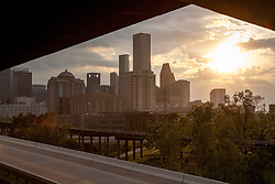 Sunrise view of the Houston, Texas skyline from the northeast - November 2008.