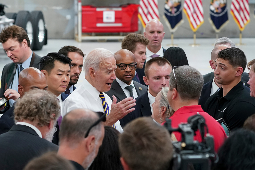 President Joe Biden talks to attendees July 28, 2021, following a tour of Mack Trucks Lehigh Valley Operations in Lower Macungie Township, Pennsylvania. The presidential visit was made to highlight the importance of American manufacturing, buying products made in America, and supporting good-paying jobs for American workers. (Photo by Matt Smith)