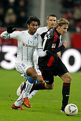02.12.2011, BayArena, Leverkusen, GER, 1.FBL, Bayer 04 Leverkusen vs TSG Hoffenheim, im BildMarvin Compper (Hoffenheim #5) gegen Stefan Kiessling (Leverkusen #11) // during the 1.FBL, Bayer Leverkusen vs TSG Hoffenheim on 2011/12/02, BayArena, Leverkusen, Germany. EXPA Pictures © 2011, PhotoCredit: EXPA/ nph/ Mueller..***** ATTENTION - OUT OF GER, CRO *****