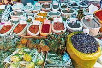 Gyumri , Armenia - August 15, 2019 :  Herbs and spice stall at Myakowski street market  landmark Shirak