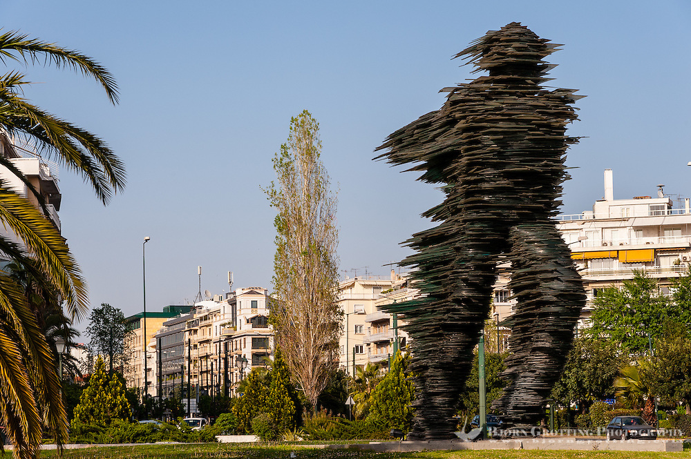 "Athens, Greece.The ""Running Man"", a sculpture made of glass."