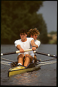 Molesey, Great Britain. GBR M2+. Bow Jonny SEARLE Stroke Greg SEARLE and cox Gary HERBERT 1992 British International Rowinig Training on the Molesey Reach, Surrey.  Went on to be Gold Medalist at the Barcelona Olympic Regatta later in the year.  [Mandatory Credit. Peter Spurrier/Intersport Images] +1992 +Molesey +Henley 1992 GBRowing Training, Molesey/Henley, United Kingdom