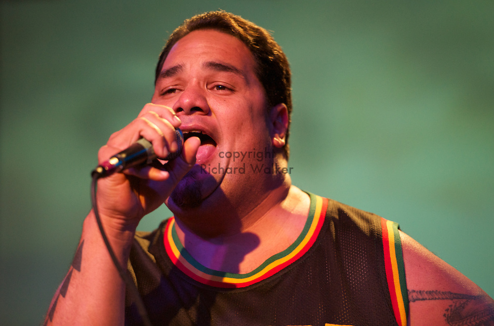 2010 April 30 - Vocalist Peni Pua'auli of Honolulu reggae band Natural Vibrations performs at The Showbox at the Market in Seattle, WA, USA. Photo by Richard Walker