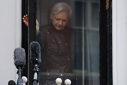 May 19, 2017 - London, London, UK - WikiLeaks founder Julian Assange speaks to the press on the balcony of the Ecuadorian Embassy in London where he has been living for almost five years after the Swedish authorities drop rape case charges against him (Credit Image: © Ray Tang via ZUMA Wire)