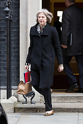 © Licensed to London News Pictures. 10/03/2015. London, UK. Theresa May leaves a cabinet meeting at 10 Downing Street in London on Tuesday 10th March 2015. Photo credit : Vickie Flores/LNP
