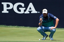August 10, 2018 - St. Louis, Missouri, U.S. - MARC LEISHMAN lines up a putt on the 9th green during the second round of the 100th PGA Championship at Bellerive Country Club. (Credit Image: © Debby Wong via ZUMA Wire)