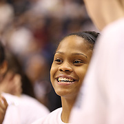 Moriah Jefferson, UConn, after their teams victory during the UConn Huskies Vs USF Bulls Basketball Final game at the American Athletic Conference Women's College Basketball Championships 2015 at Mohegan Sun Arena, Uncasville, Connecticut, USA. 9th March 2015. Photo Tim Clayton
