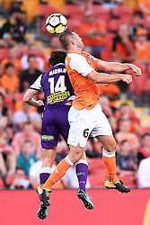 January 18, 2018 - Brisbane, QUEENSLAND, AUSTRALIA - Avraam Papadopoulos of the Roar (#6, right) and Chris Harold of the Glory (#14) compete for the ball during the round seventeen Hyundai A-League match between the Brisbane Roar and the Perth Glory at Suncorp Stadium on January 18, 2018 in Brisbane, Australia. (Credit Image: © Albert Perez via ZUMA Wire)