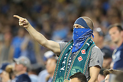 May 5, 2018 - Kansas City, KS, U.S. - KANSAS Kansas City, KS - MAY 05: A Sporting KC fan in the second half of an MLS match between the Colorado Rapids and Sporting Kansas City on May 5, 2018 at Children's Mercy Park in Kansas City, KS.  Sporting KC won 1-0. (Photo by Scott Winters/Icon Sportswire) (Credit Image: © Scott Winters/Icon SMI via ZUMA Press)