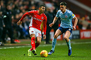 Charlton Athletic midfielder Karlan Ahearne-Grant (18) holds of Accrington Stanley defender Callum Johnson (2) during the EFL Sky Bet League 1 match between Charlton Athletic and Accrington Stanley at The Valley, London, England on 19 January 2019.
