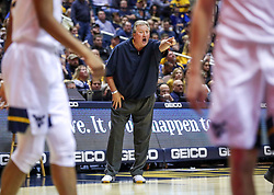 Dec 14, 2019; Morgantown, WV, USA; West Virginia Mountaineers head coach Bob Huggins calls out a play during the second half against the Nicholls State Colonels at WVU Coliseum. Mandatory Credit: Ben Queen-USA TODAY Sports