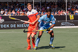 (L-R) Roel Bovendeert of The Netherlands, Varun Kumar of India during the Champions Trophy match between the Netherlands and India on the fields of BH&BC Breda on June 30, 2018 in Breda, the Netherlands