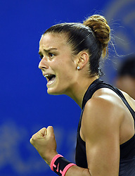 WUHAN, Sept. 28, 2017 Maria Sakkari of Greece celebrates during the singles quarterfinal match against Alize Cornet of France at 2017 WTA Wuhan Open in Wuhan, capital of central China's Hubei Province, on Sept. 28, 2017. Maria Sakkari won 2-0.  wll) (Credit Image: © Cheng Min/Xinhua via ZUMA Wire)