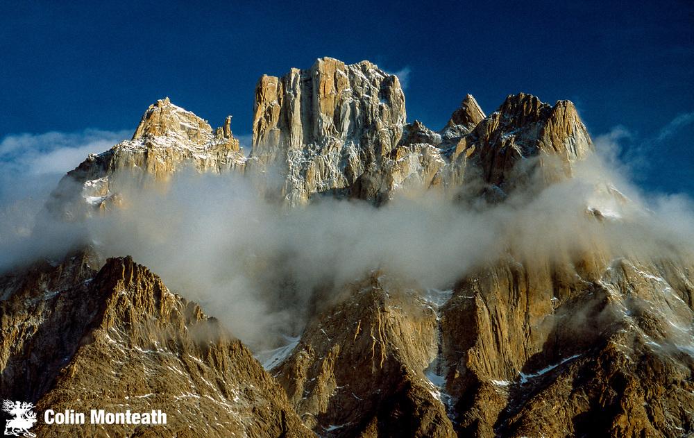 Cathedral peaks tower above Baltoro glacier, winter in Karakoram, Pakistan