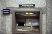 Cashpoint machine issues Guernsey notes only, St Peter Port, Guernsey, Channel Islands, UK