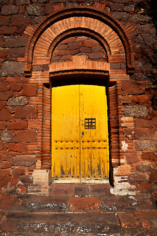"""Door to Modernist Masia del Marquet de les Roques, Vall d'Horta, Sant Llorenç del Munt i l'Obac, Catalunya, Spain. The original house dates to ~1200, but this structure dates to 1895.  House was rebuilt then by grandfather of the poet Joan Oliver """"Pere Quart"""". The architect was Juli Batllevell i Arús.It was the summer residence of poet Joan Oliver."""