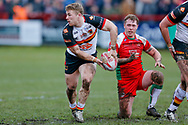 Bradford Bulls hooker Sam Hallas (9) passes the ball during the Betfred League 1 match between Keighley Cougars and Bradford Bulls at Cougar Park, Keighley, United Kingdom on 11 March 2018. Picture by Simon Davies.