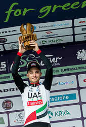 Winner Simone Consonni of UAE celebrates during trophy ceremony after the 1st Stage of 25th Tour de Slovenie 2018 cycling race between Lendava and Murska Sobota (159 km), on June 13, 2018 in  Slovenia. Photo by Vid Ponikvar / Sportida
