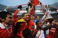 20100509: LISBON, PORTUGAL - SL Benfica vs Rio Ave: Portuguese League 2009/2010, 30th round. In picture: Javier Saviola, Javi Garcia, David Luiz and Angel Di Maria. PHOTO: Alvaro Isidoro/CITYFILES