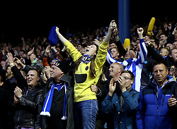 Sheffield Wednesday fans celebrate Ross Wallace's goal - Mandatory by-line: Robbie Stephenson/JMP - 13/05/2016 - FOOTBALL - Hillsborough - Sheffield, England - Sheffield Wednesday v Brighton and Hove Albion - Sky Bet Championship Play-off Semi Final first leg