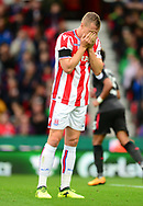 Ryan Shawcross of Stoke city reacts after a near miss to score. Premier league match, Stoke City v Arsenal at the Bet365 Stadium in Stoke on Trent, Staffs on Saturday 19th August 2017.<br /> pic by Bradley Collyer, Andrew Orchard sports photography.