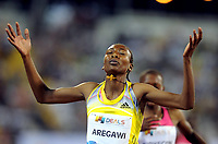 Friidrett<br /> IAAF Diamond League 2013<br /> Doha 10.05.2013<br /> Foto: imago/Digitalsport<br /> NORWAY ONLY<br /> <br /> Sweden s Abeba Aregawi celebrates after the women s 1500m final at the IAAF Diamond League in Doha, capital of Qatar, May 10, 2013. Aregawi claimed the title of the event with 3 minutes and 56.60 seconds.