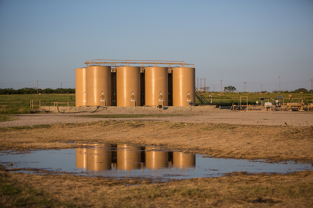 Salt water disposal station in Karnes County Texas in the Eagle Ford Shale.