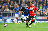 Idrissa Gueye of Everton (l) is tackled by Joshua King of Bournemouth. Premier league match, Everton vs Bournemouth at Goodison Park in Liverpool, Merseyside on Saturday 23rd September 2017.<br /> pic by Chris Stading, Andrew Orchard sports photography.