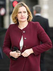 © Licensed to London News Pictures. 24/04/2018. London, UK. Home Secretary AMBER RUDD arrives for the unveiling of a statue of Millicent Fawcett in Parliament Square, London. Dame Millicent, a leading Suffragist and campaigner for equal rights for women, is the first woman to be commemorated with a statue in Parliament Square. Photo credit: Ben Cawthra/LNP