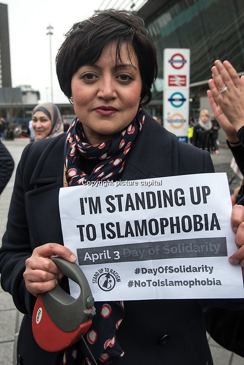 Newham Labour mayoral Rokhsana Fiaz join in solidarity with the Muslim community of the outrageous 'Punish a Muslim Day' letter recently sent to homes across the country is yet another example of anti-Muslim hate crime which has doubled over the last year on the 3rd March 2018 at Stratford station, London, UK.