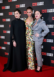 Kristin Scott Thomas, Alicia Vikander and Jaime Winstone attending the Tomb Raider European Premiere held at Vue West End in Leicester Square, London.
