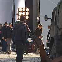 US actress Angelina Jolie with husband Brad Bitt shooting her first movie as a director set in Serbian war in public locations of Budapest, Hungary, Wednesday, 13. October 2010. ATTILA VOLGYI