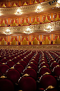 Interior shot of the historic Teatro Colon opera house which opened in 1908 in Buenos Aires. It is ranked the third best Opera house in the world by National Geographic, and is acoustically considered to be amongst the five best concert venues in the world.