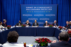 President Barack Obama participates in a Summit on Cybersecurity and Consumer Protection with business leaders at Stanford University in Stanford, Calif., Feb. 13, 2015. (Official White House Photo by Pete Souza)<br /> <br /> This official White House photograph is being made available only for publication by news organizations and/or for personal use printing by the subject(s) of the photograph. The photograph may not be manipulated in any way and may not be used in commercial or political materials, advertisements, emails, products, promotions that in any way suggests approval or endorsement of the President, the First Family, or the White House.