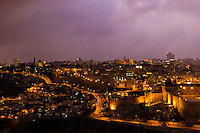 Old City Walls at twilight, Jerusalem, Israel.